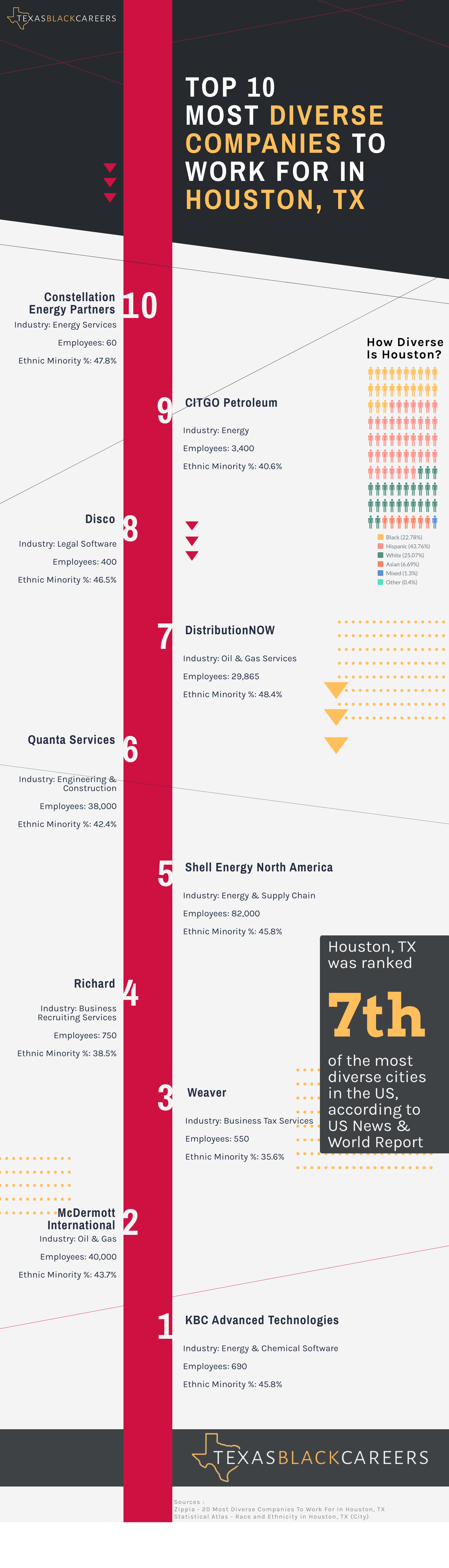 Top 10 Diverse Companies in Houston infographic